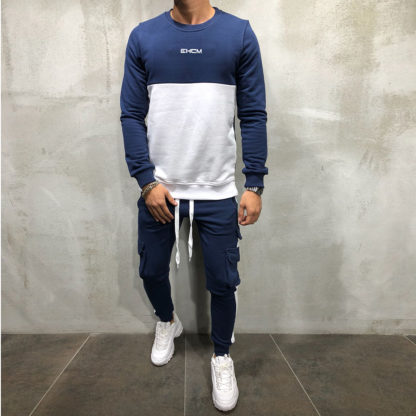 New Men's Tracksuit Set Sweatshirt Sweatpants Multi-pocket